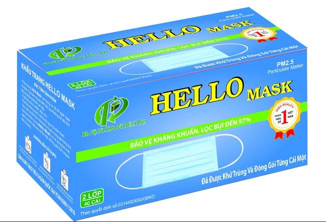 KHẨU TRANG Y TẾ HELLO MASK -  ĐÓNG GÓI TỪNG CÁI (2 Lớp xanh SMS)