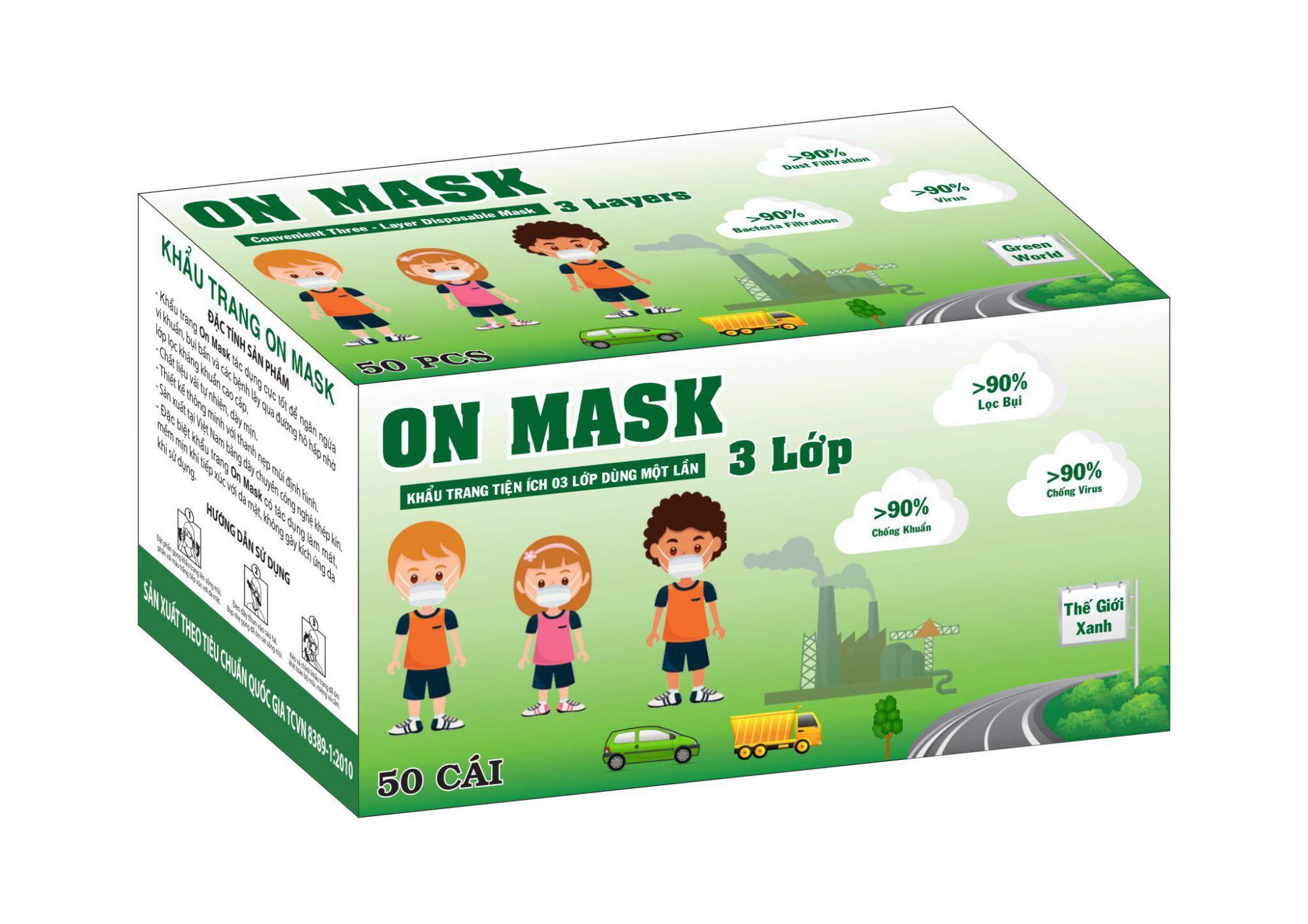 Khẩu Trang On Mask 3 Lớp Màu Xanh