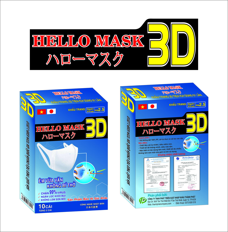 Khẩu Trang 3D Hello Mask 10 tặng 2 cái