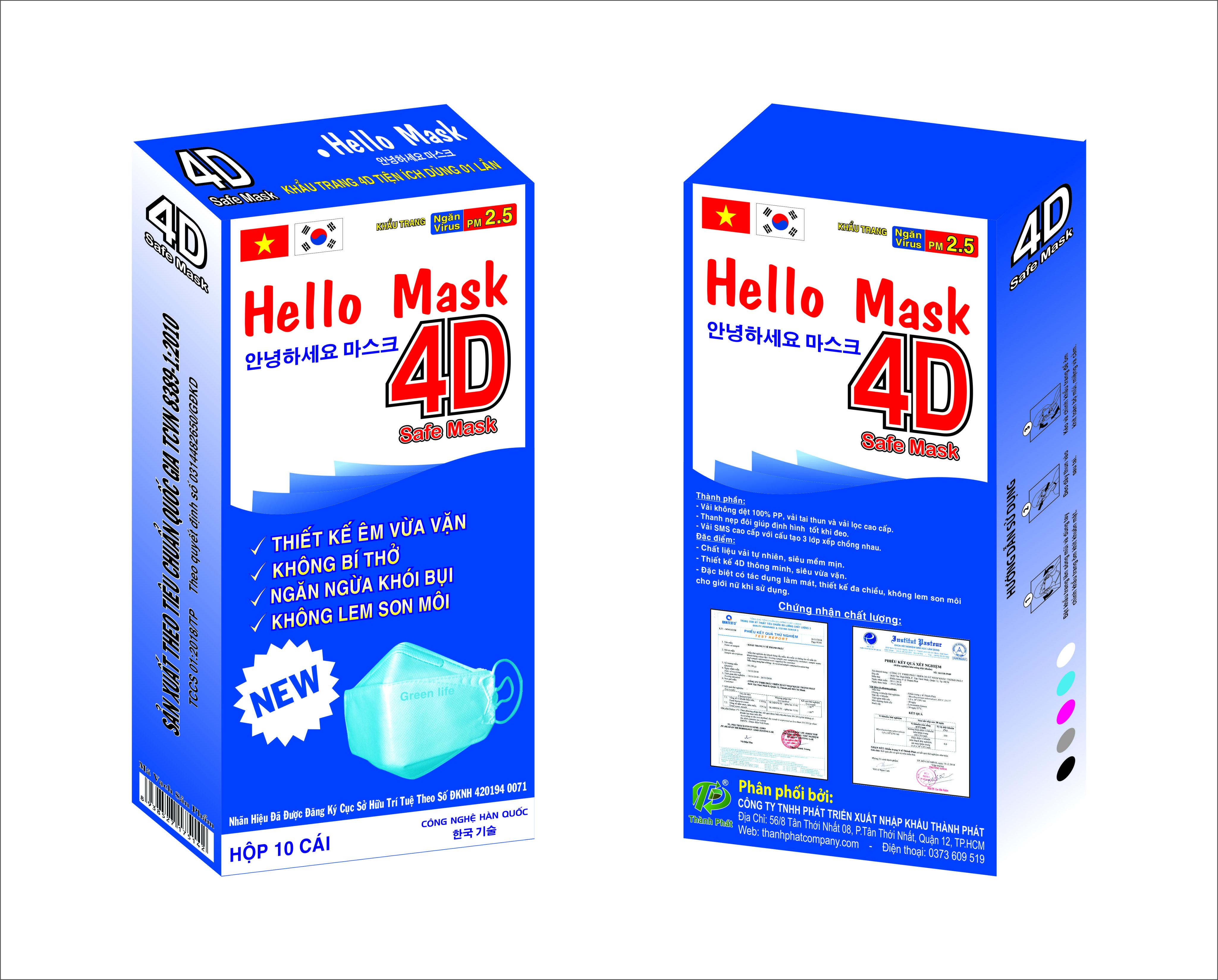 Khẩu Trang 4D Hello Mask Màu Xanh