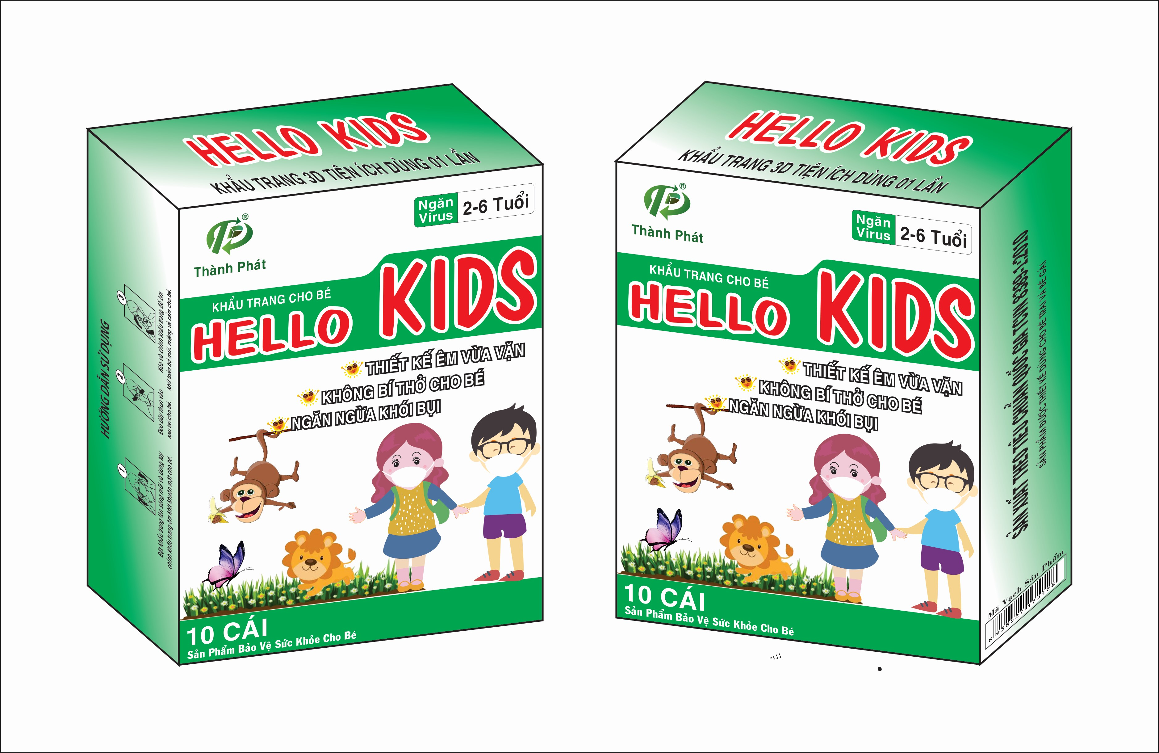Khẩu Trang Em Bé Hello KIDS - 3D Màu Trắng