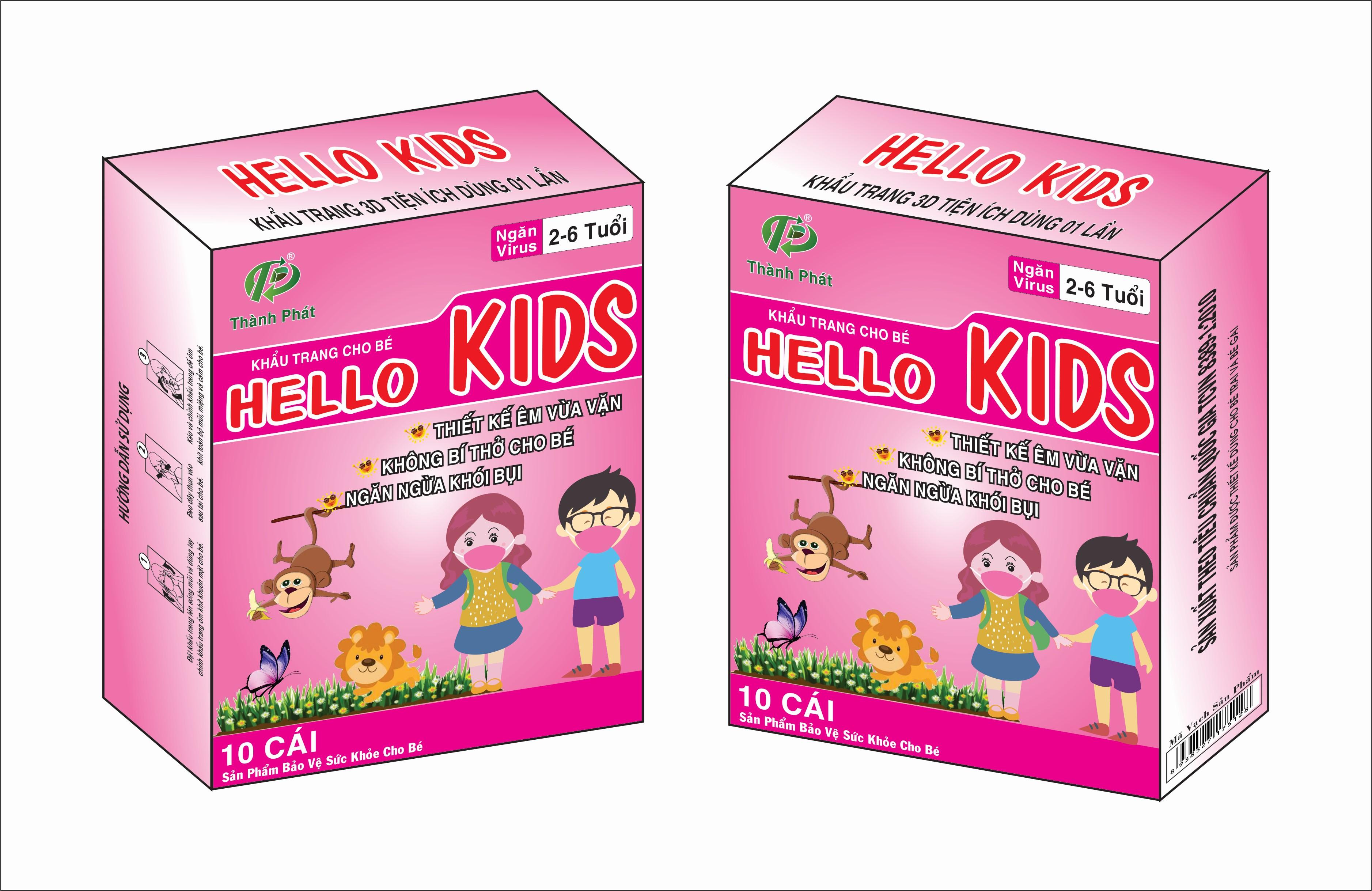 Khẩu Trang Em Bé Hello KIDS - 3D Màu Hồng