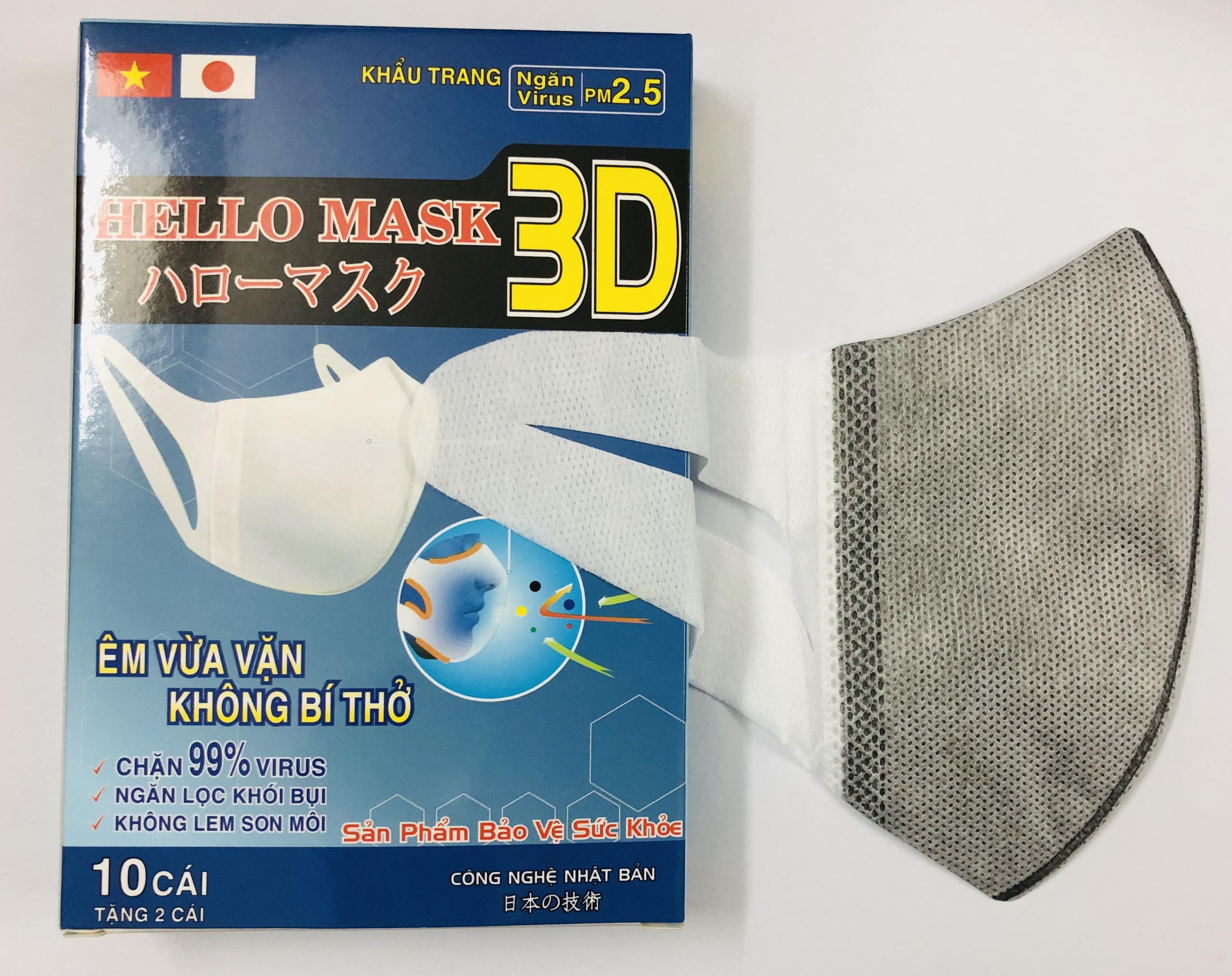 Khẩu Trang 3D Hello Mask 10 tặng 2 cái - Màu Xám