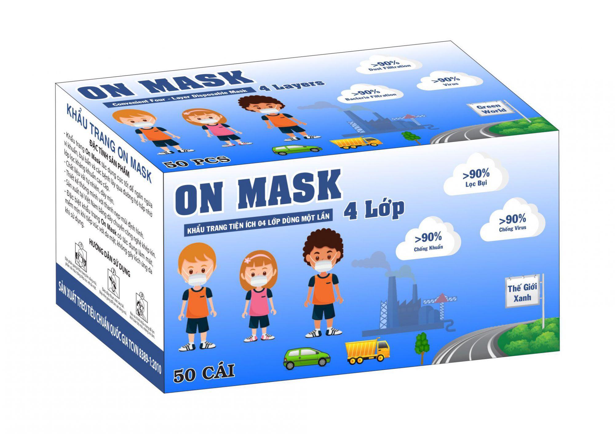 Khẩu Trang On Mask 4 Lớp Màu Xanh