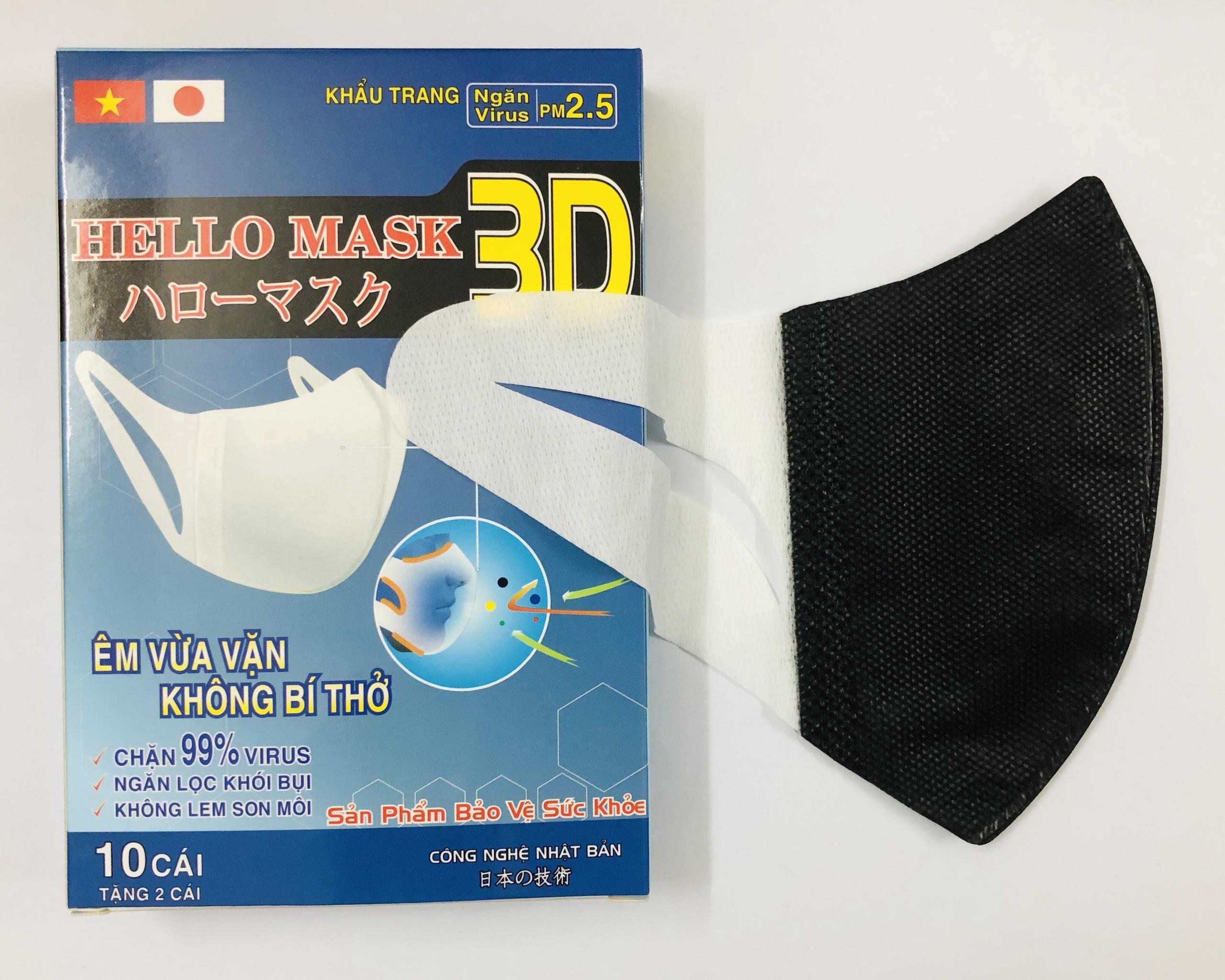 Khẩu Trang 3D Hello Mask (Hộp 10 cái) - Màu Đen