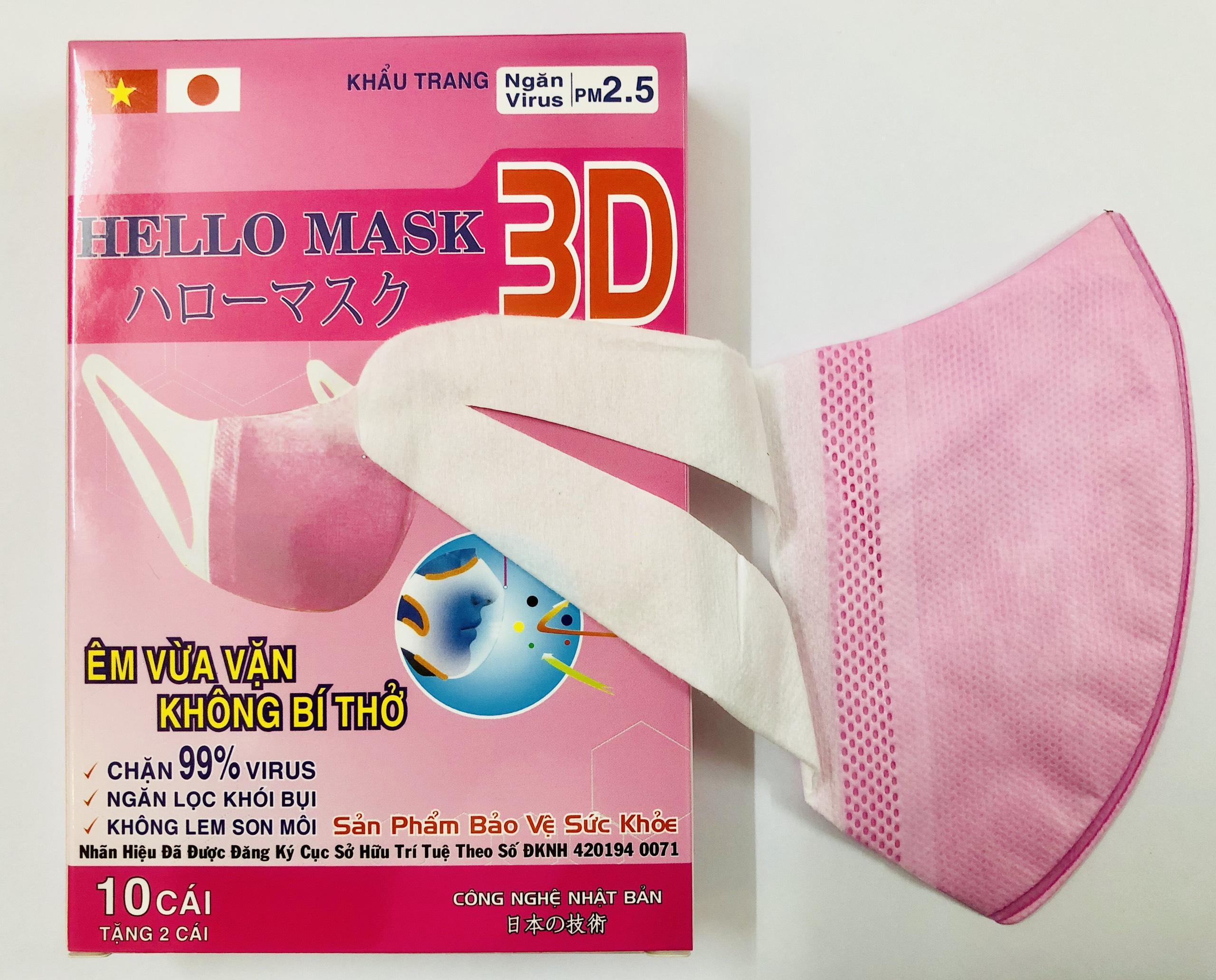 Khẩu Trang 3D Hello Mask (Hộp 10 cái) - Màu Hồng