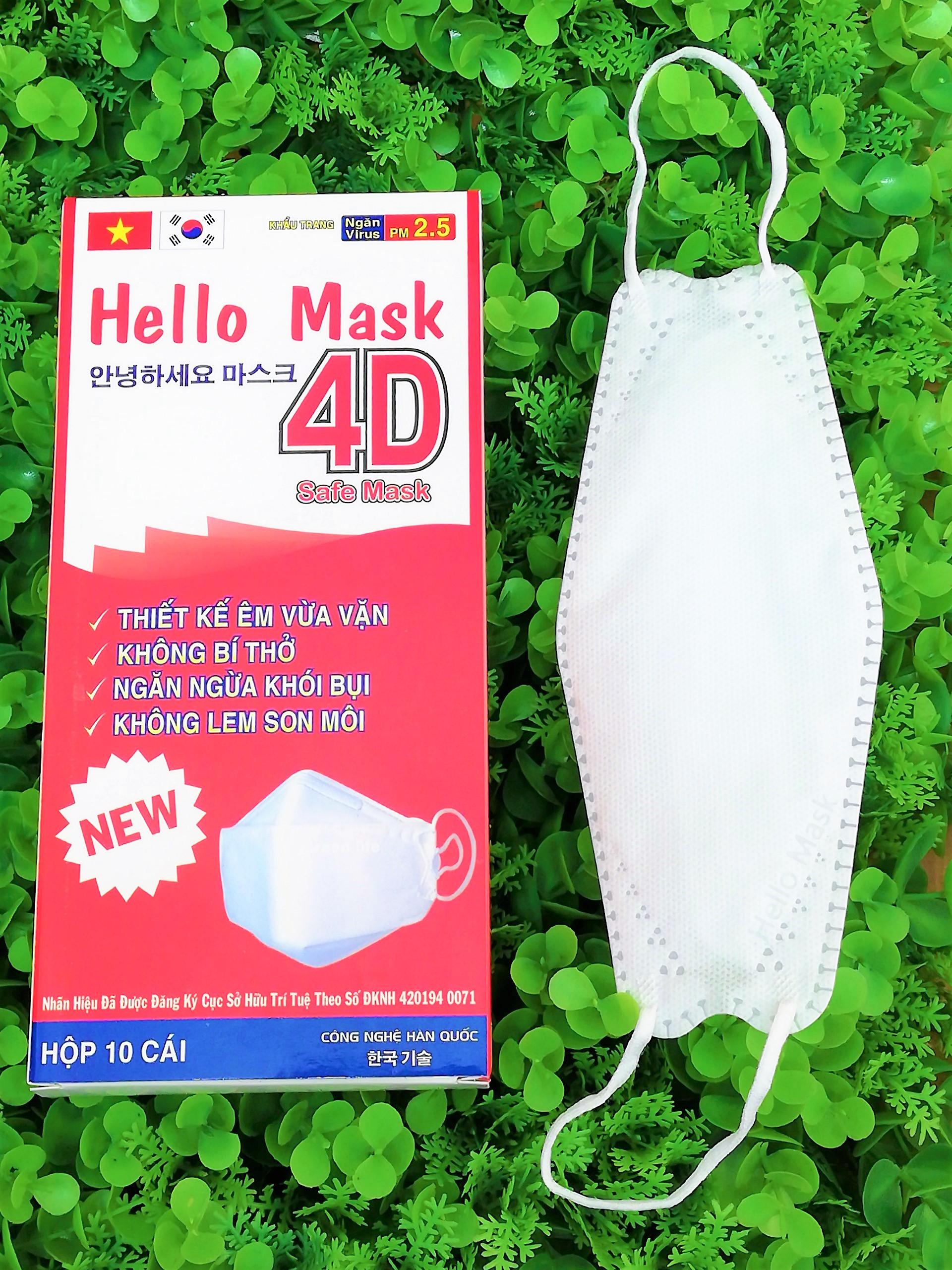 Khẩu Trang 4D Hello Mask Màu Trắng