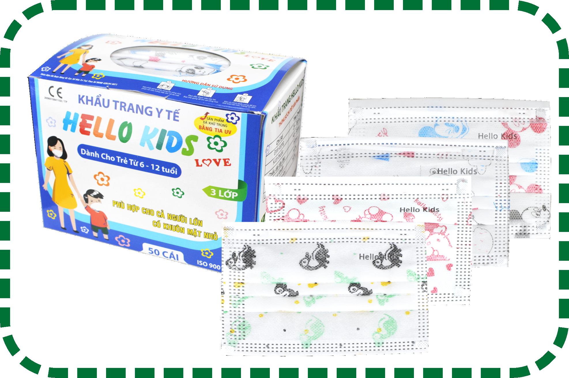 Khẩu Trang Y Tế Hello Kids (3 Lớp)