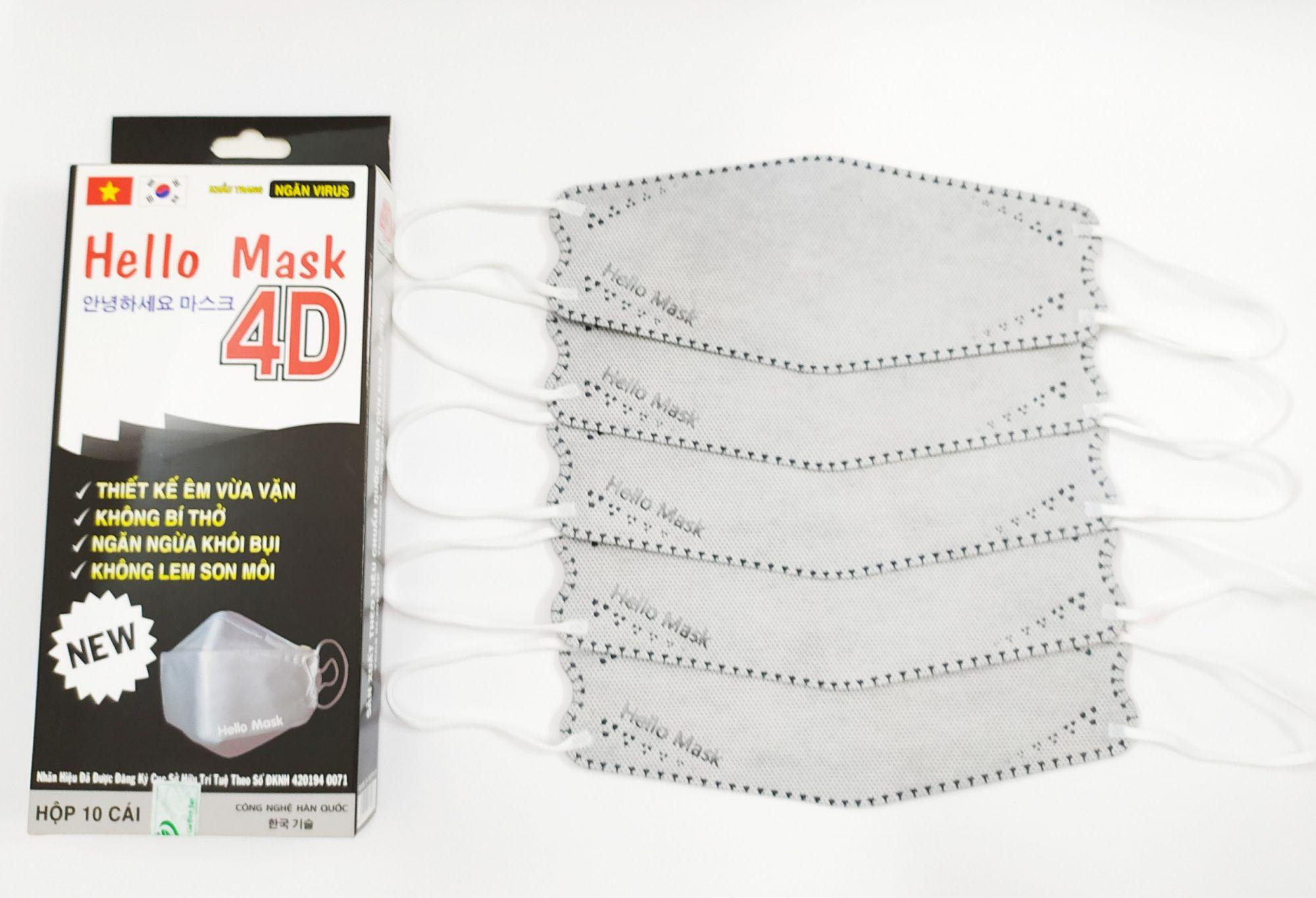 Khẩu Trang Cao Cấp 4D Hello Mask ( Màu xám)