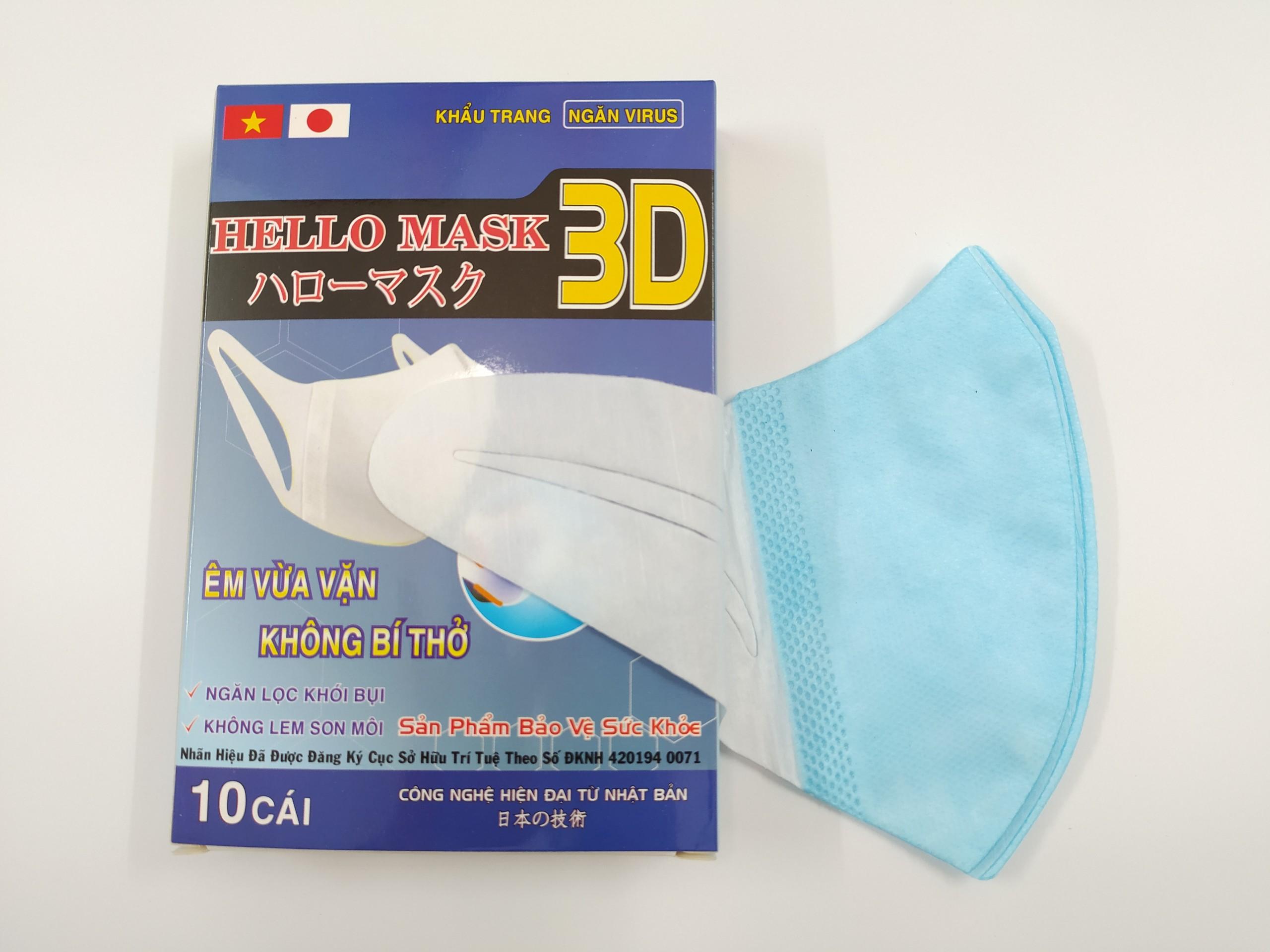Khẩu Trang 3D Hello Mask - Japan ( Màu Xanh)