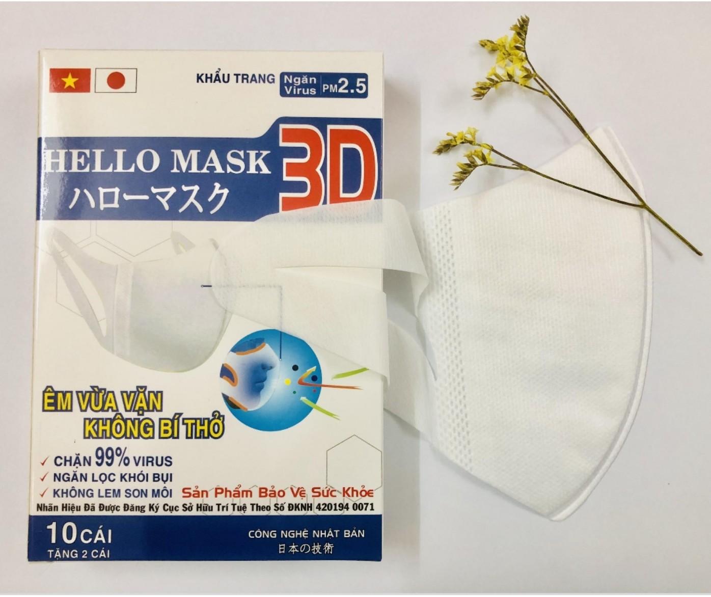 Khẩu Trang 3D Hello Mask - Japan ( Màu Trắng)