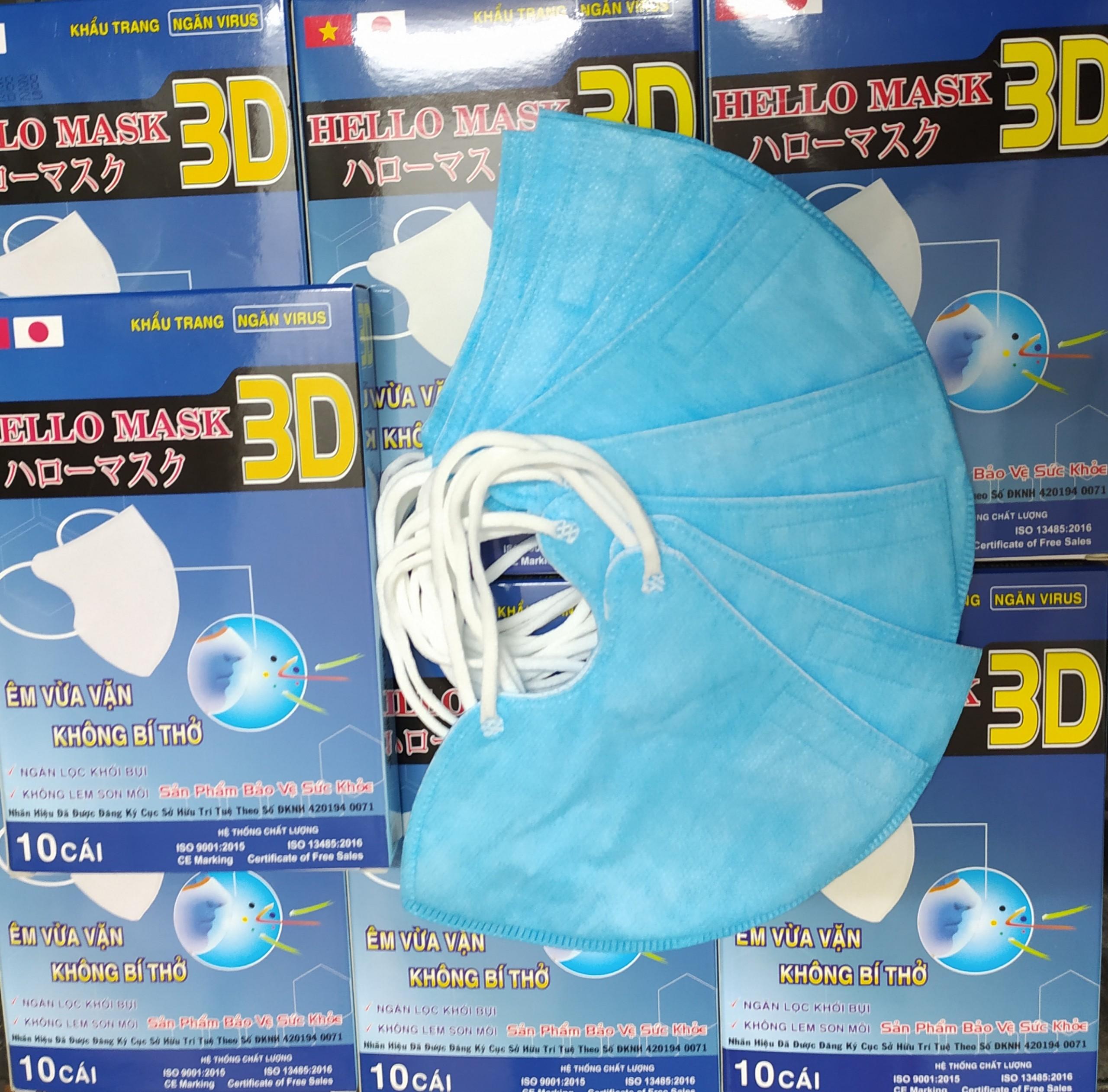 Khẩu Trang 3D Quai Thun Xanh
