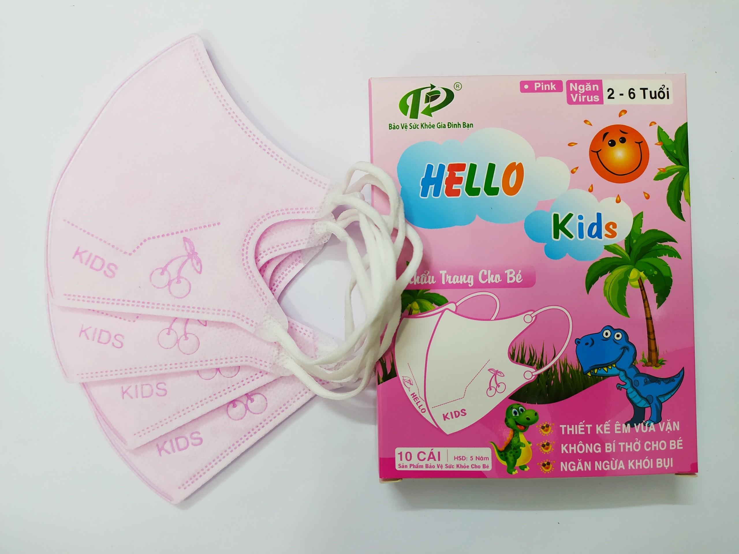 Khẩu Trang Em Bé Hello KIDS - 3D (Màu hồng)
