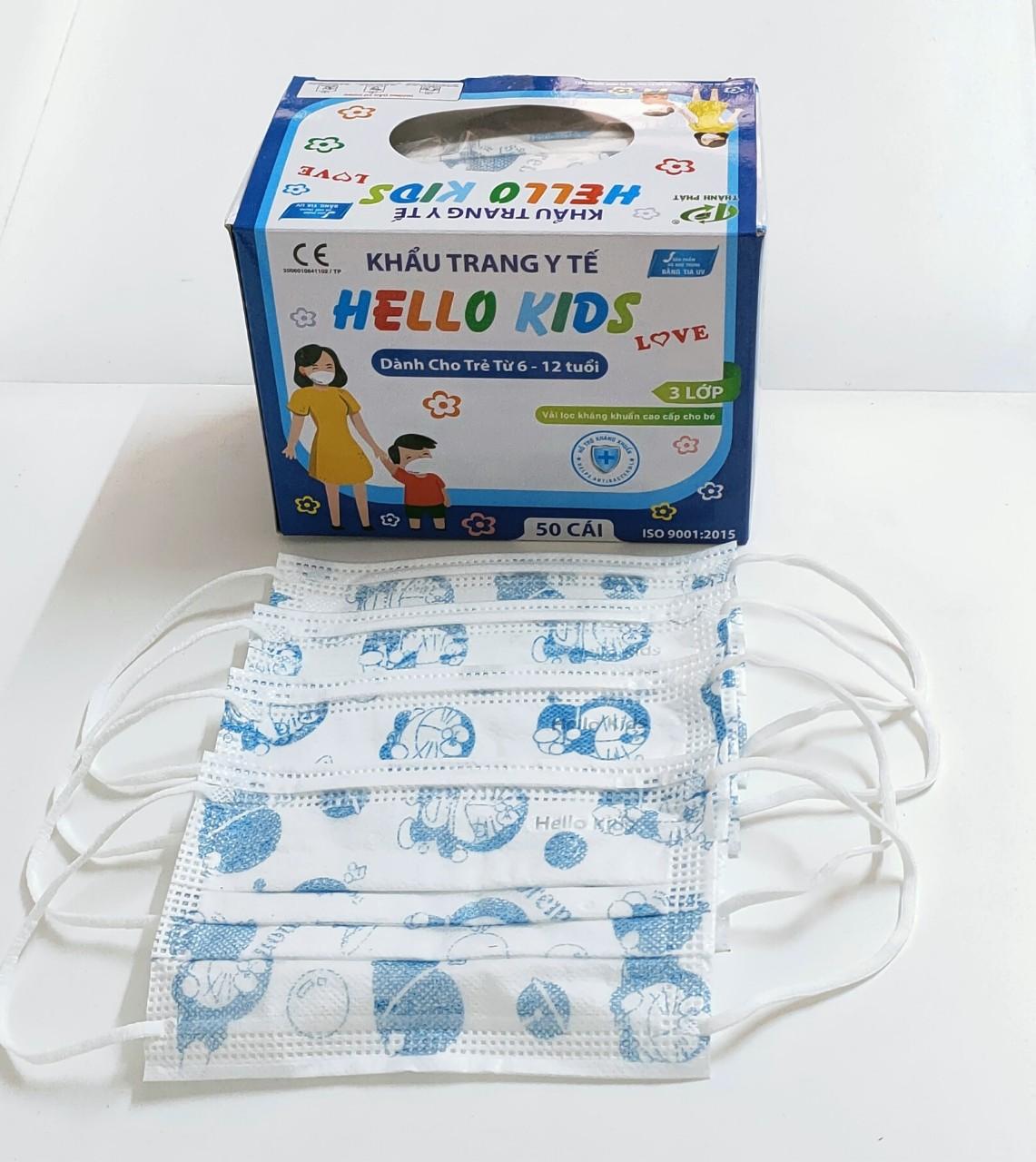 Khẩu Trang Y Tế Hello Kids (3 Lớp - hoạ tiết Đoremon)