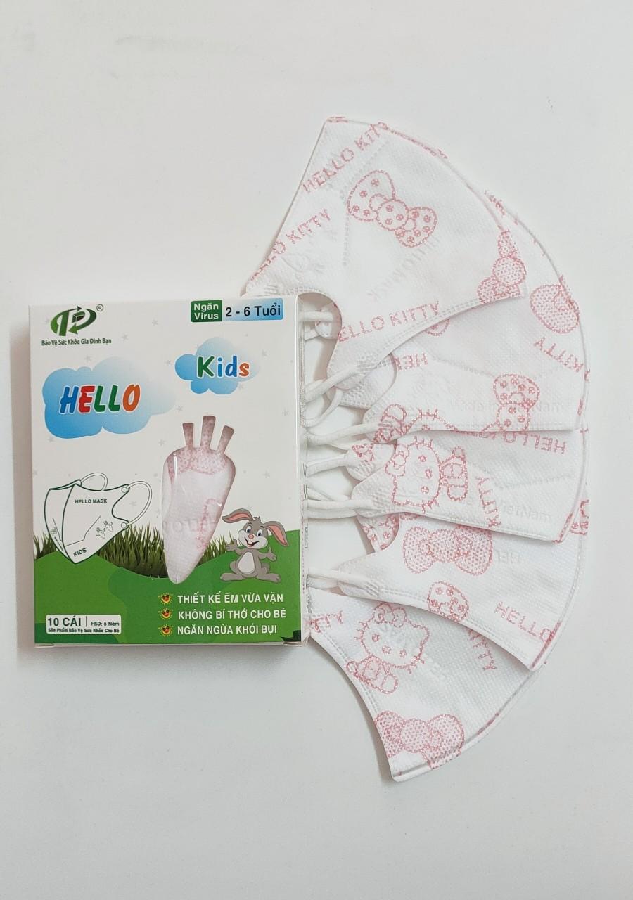 Khẩu Trang Em Bé Hello Kids 3D ( Hoạ Tiết Hello Kitty)