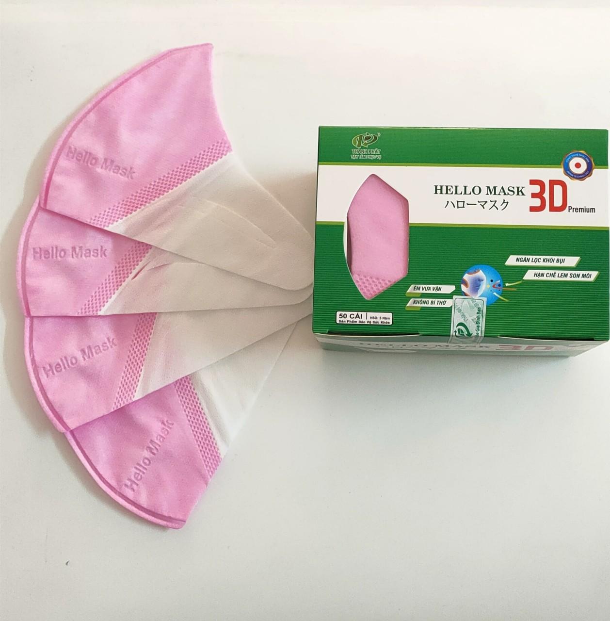 Khẩu Trang 3D  Hello Mask - Japan (Hộp 50 cái - Màu Hồng)