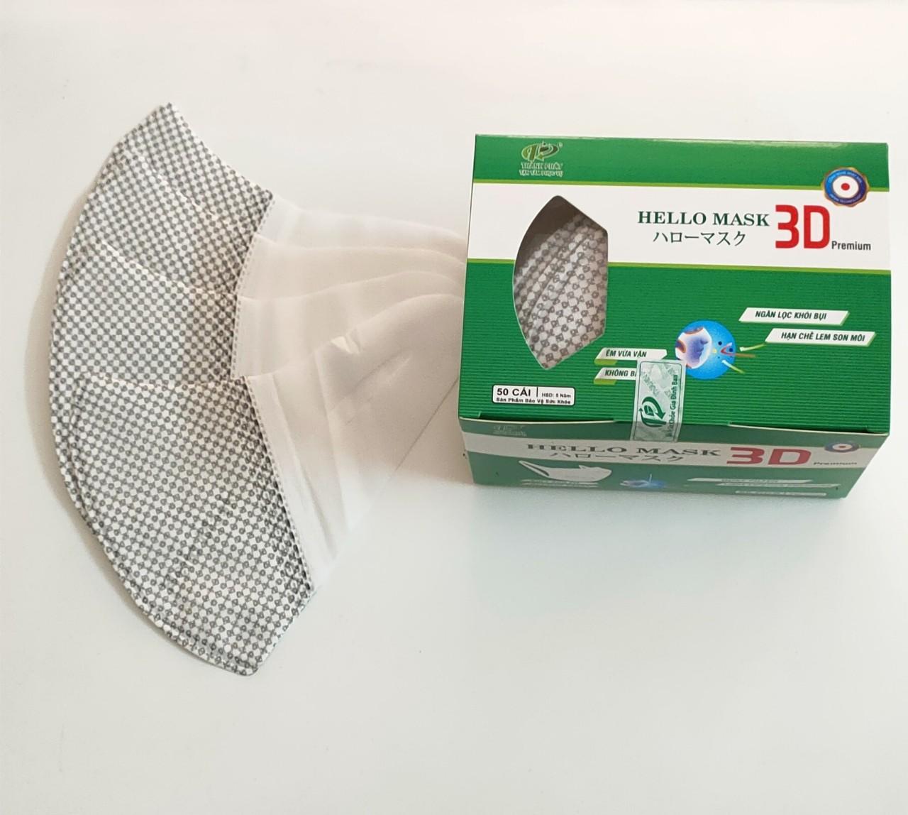 Khẩu Trang 3D  Hello Mask - Japan (Hộp 50 cái - Màu Caro xám)