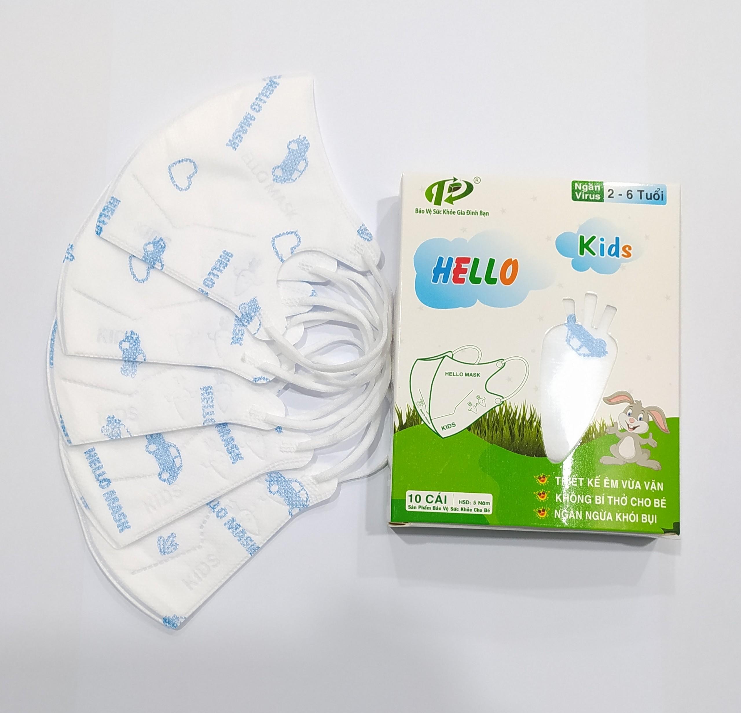 Khẩu Trang Em Bé Hello Kids 3D ( Hoạ Tiết Ô Tô Xanh)